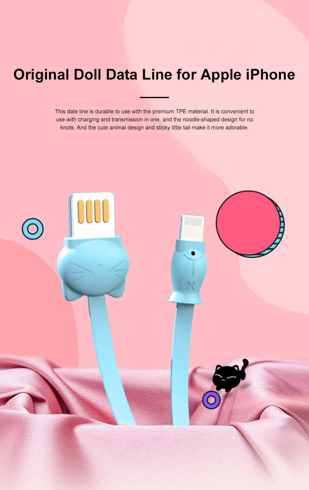 Pisen Original 1.2M Doll Data Line Transmission Charging 2-In-1 USB Data Cable with Cute Animal Doll Shape for iPhone X 8 7 6 5 0