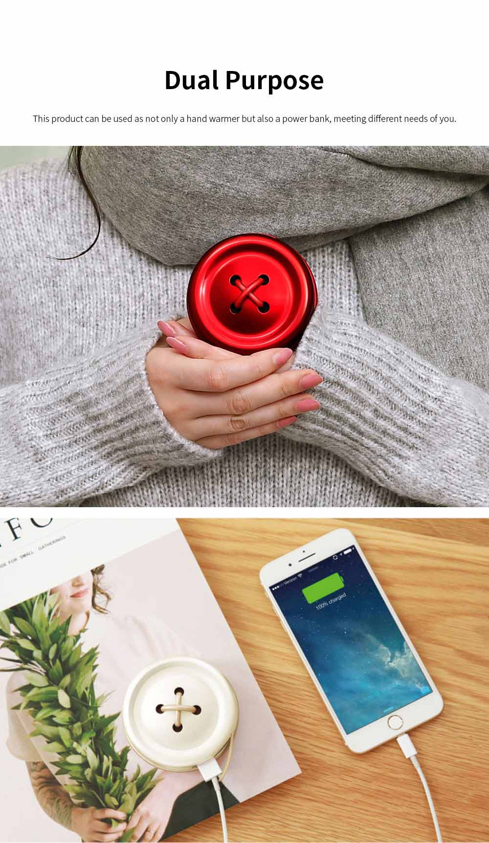 Portable Creative Cute Button Model Electronic Hand Warmer Power Bank Intelligent Temperature Control Quick Heating 4
