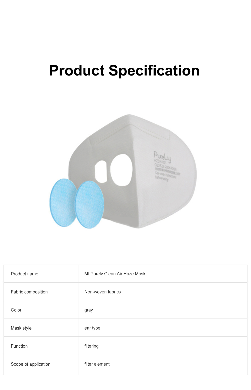 MI Purely Clean Air Haze Mask Anti-smog Anti Haze PM2.5 Dust Earhook Mask With Filter 2019 NEW 10