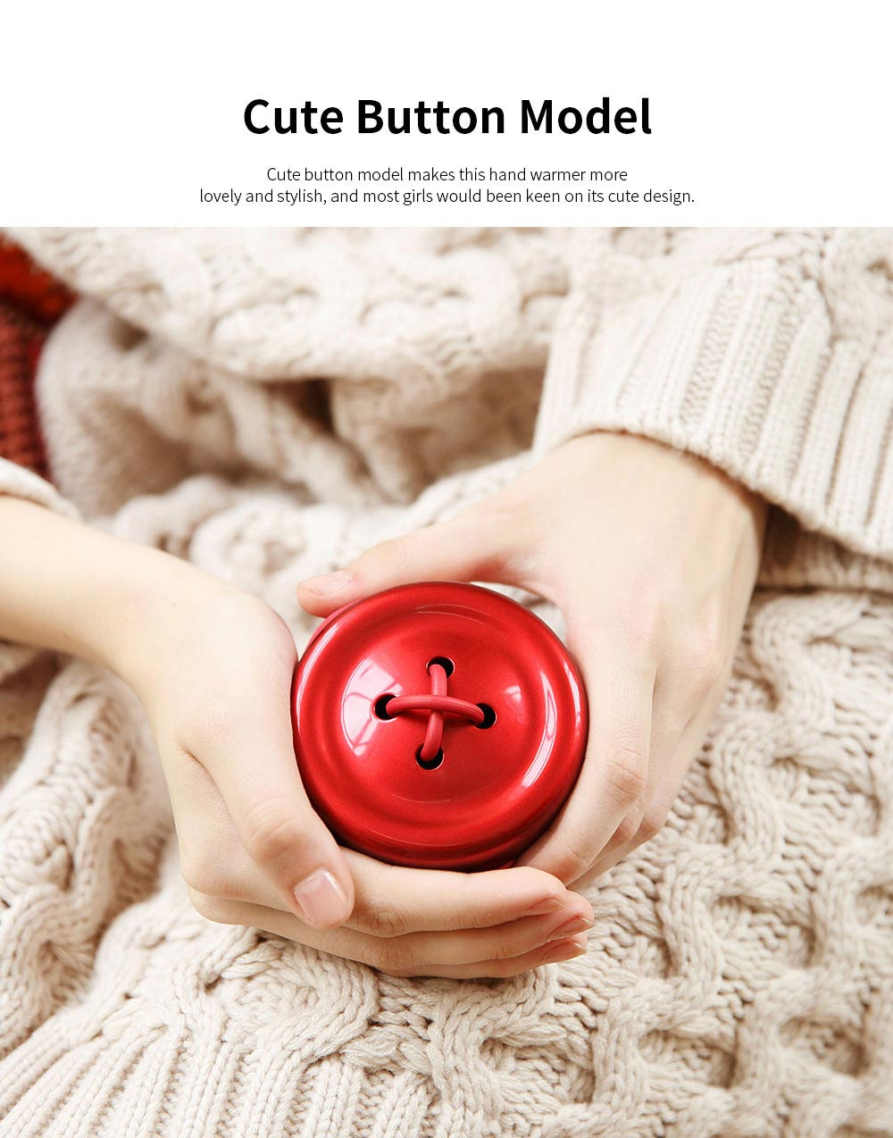 Portable Creative Cute Button Model Electronic Hand Warmer Power Bank Intelligent Temperature Control Quick Heating 1