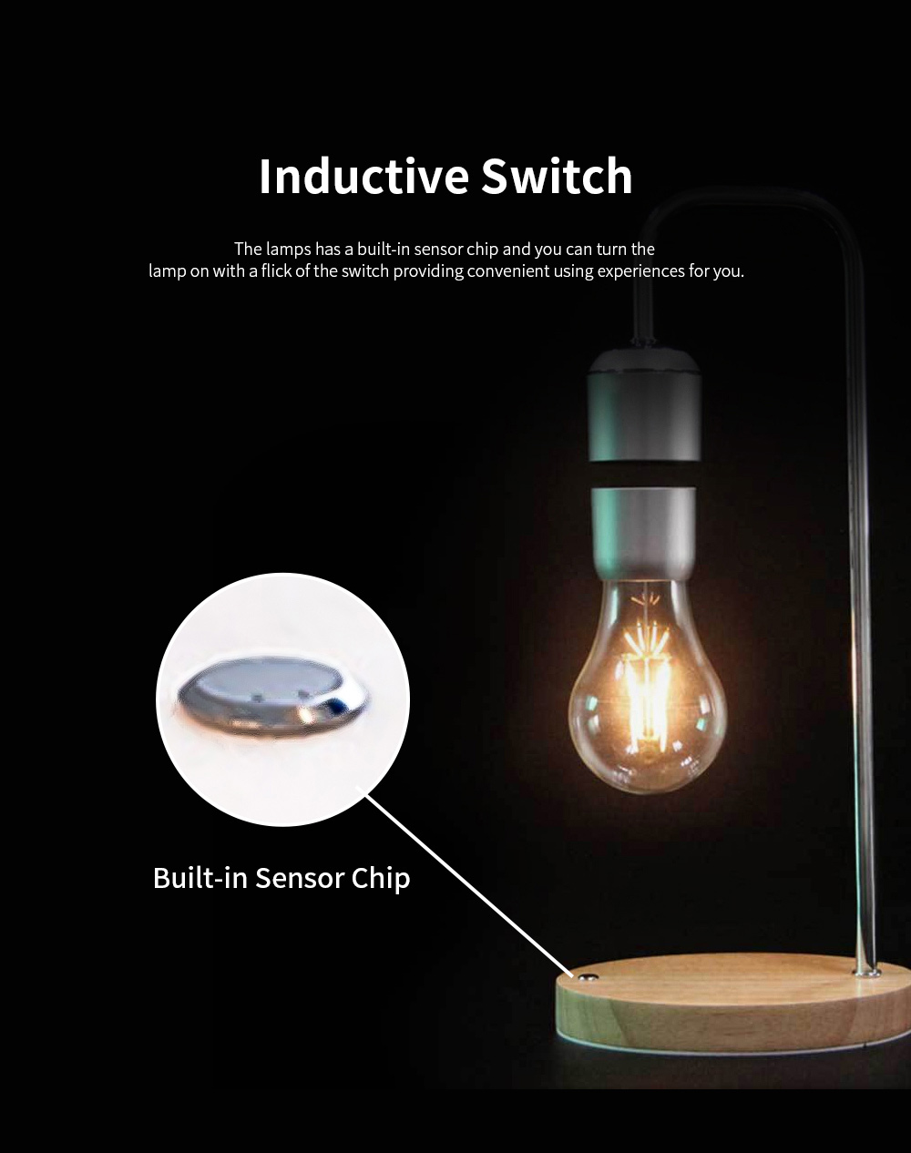 Creative Stylish Energy-conservation Mute Magnetic Suspension Light Table Lamp with Inductive Switch Anti-skid Base 3