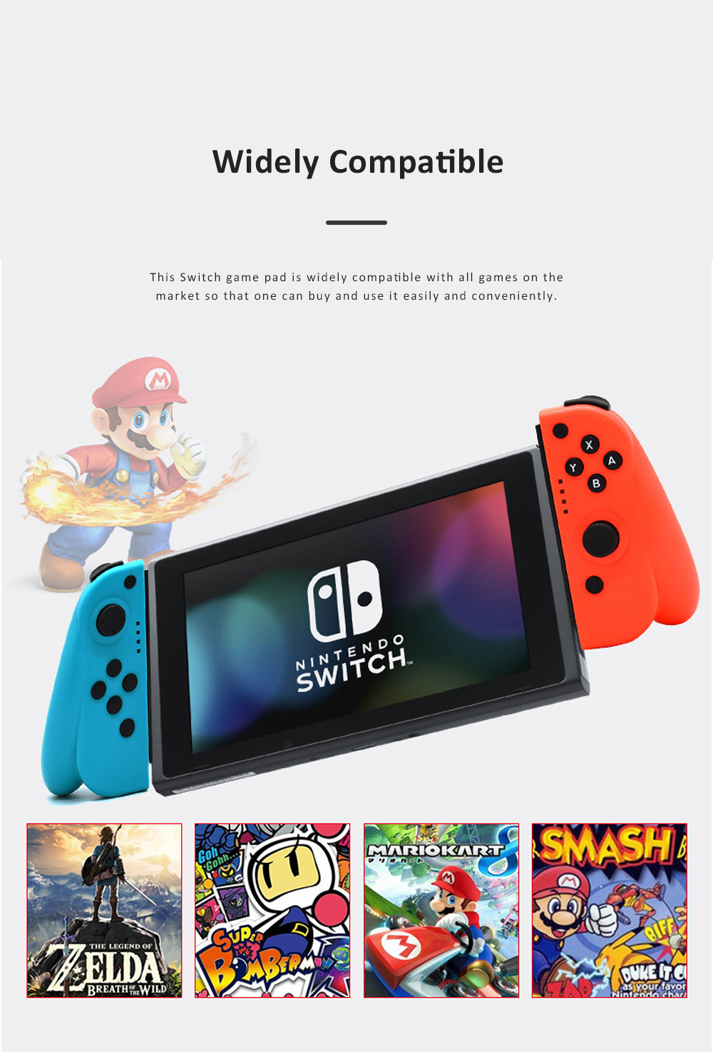 Left and Right Bluetooth Game Handle for Switch Game Machine Separated Repeating Vibrating Game Controller Wireless Joy-con Screen Shot Handles 8