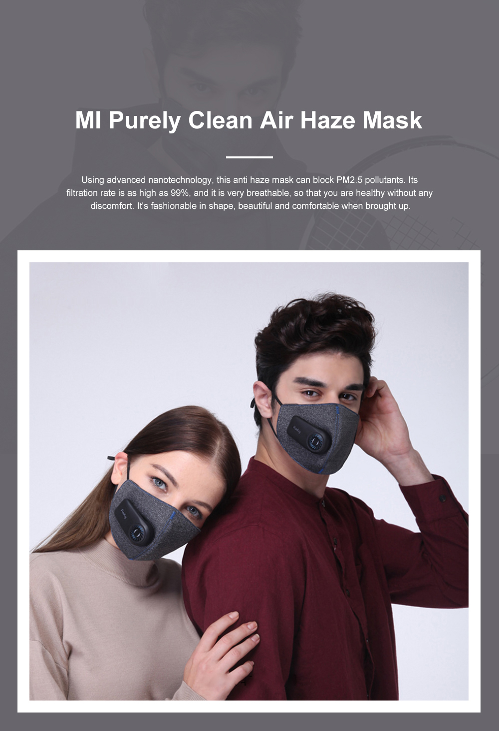 MI Purely Clean Air Haze Mask Anti-smog Anti Haze PM2.5 Dust Earhook Mask With Filter 2019 NEW 0