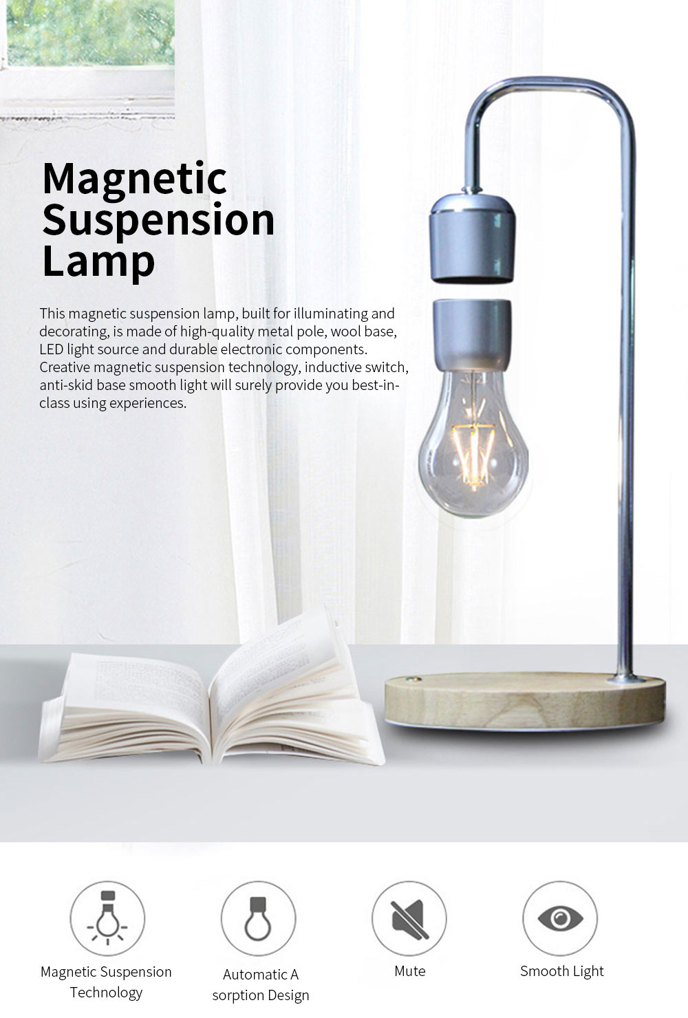 Creative Stylish Energy-conservation Mute Magnetic Suspension Light Table Lamp with Inductive Switch Anti-skid Base 0