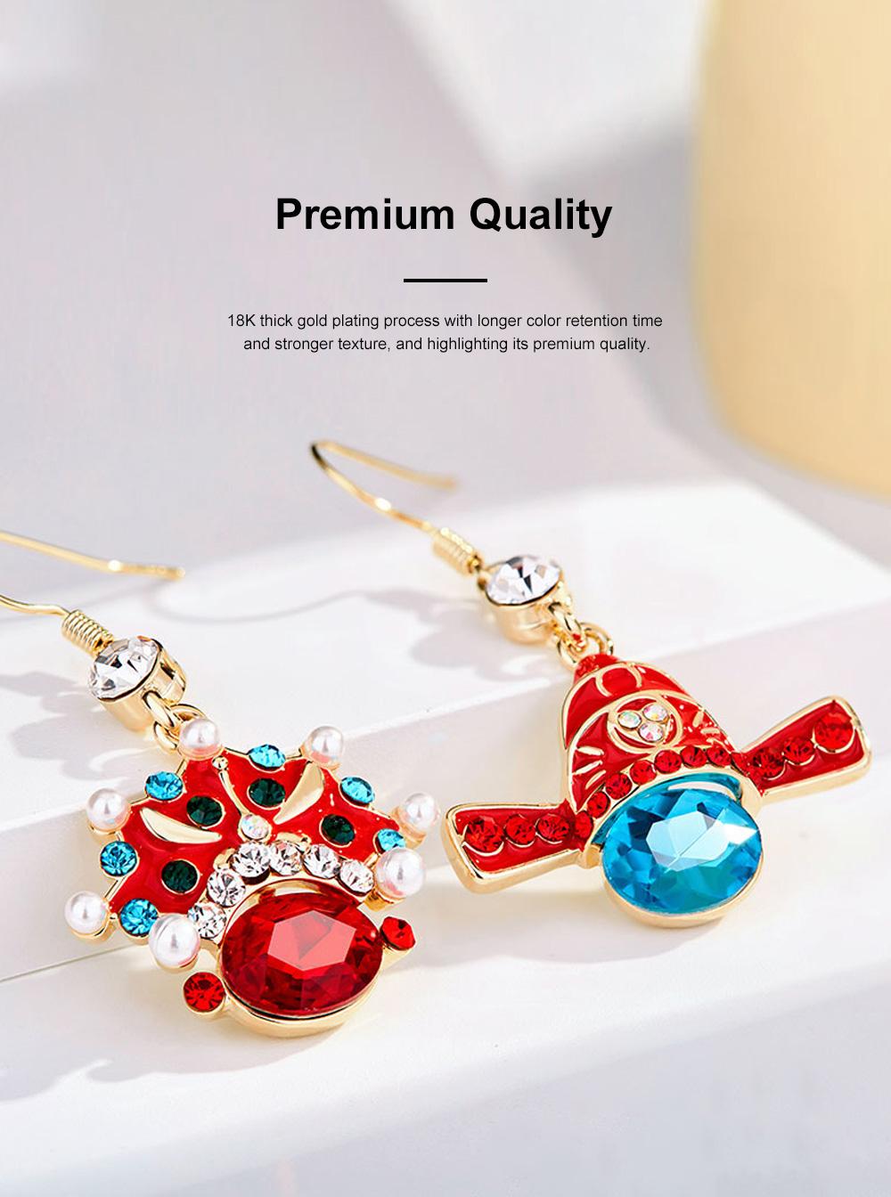Chinese Style Dangle Earrings Asymmetric Personality Crystal Earrings Bride Groom Earrings Studs 2