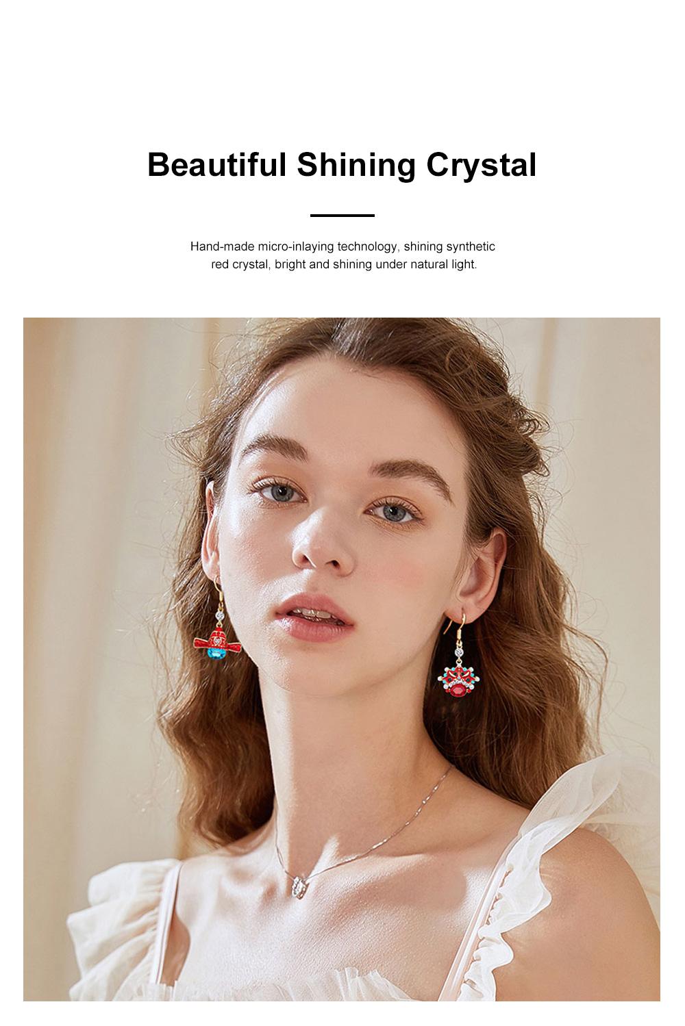 Chinese Style Dangle Earrings Asymmetric Personality Crystal Earrings Bride Groom Earrings Studs 1