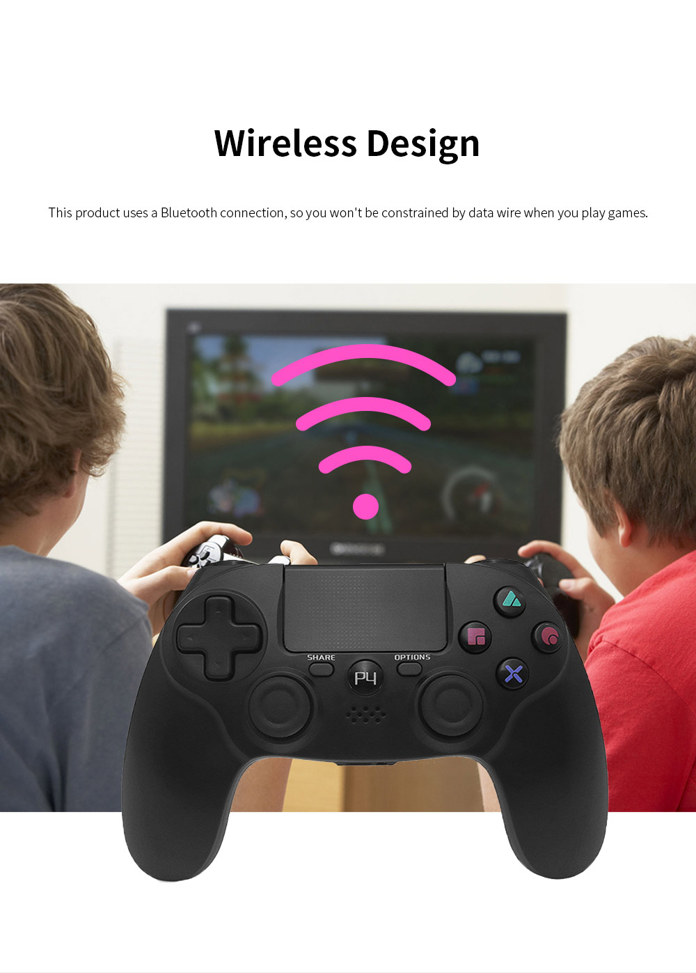 Easy Operation Long Endurance Multifunctional Ergonomics Designed Bluetooth Wireless PS4 Gamepad Games Console 2