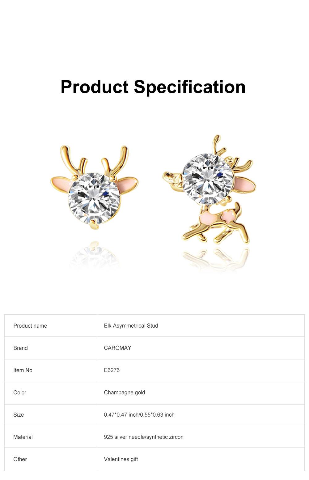 Cute Reindeer Earrings Studs for Women Asymmetrical Elk Stud Earrings Delicate 925 Silver Jewelry Earring Girls Gift 6