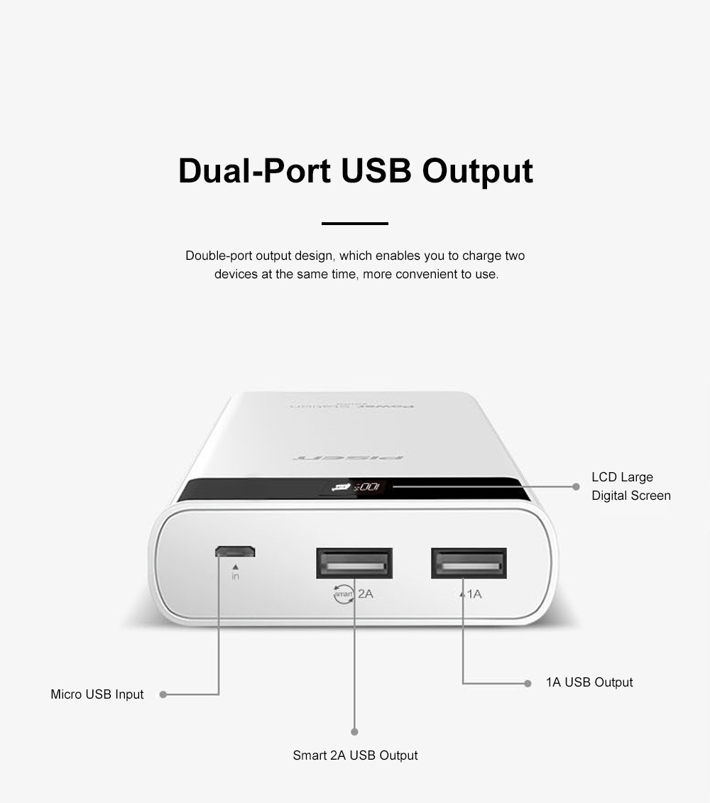 Pisen 20000mAh Large Capacity Power Bank Portable Dual USB Port Mobile Power Supply Station with Digital Screen Display 1