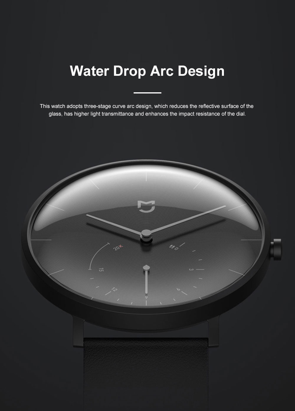 XIAOMI MIJIA Smart Quartz Watch Waterproof Android iOS Time Android Smartwatch with Waterproof Genuine Leather Band 4