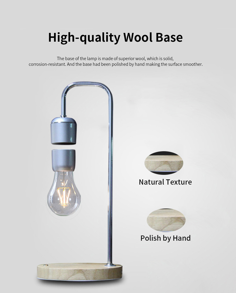 Creative Stylish Energy-conservation Mute Magnetic Suspension Light Table Lamp with Inductive Switch Anti-skid Base 6