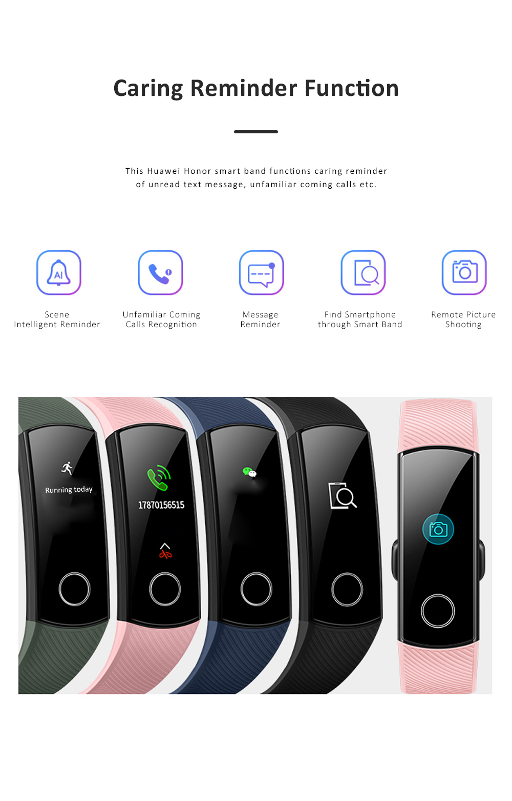 Huawei Honor Smart Band 5 Sports Mobile Blood Oxygen Monitoring Wristband Colorful Screen Bracelet 9