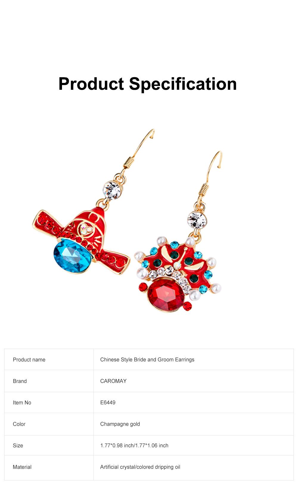 Chinese Style Dangle Earrings Asymmetric Personality Crystal Earrings Bride Groom Earrings Studs 6