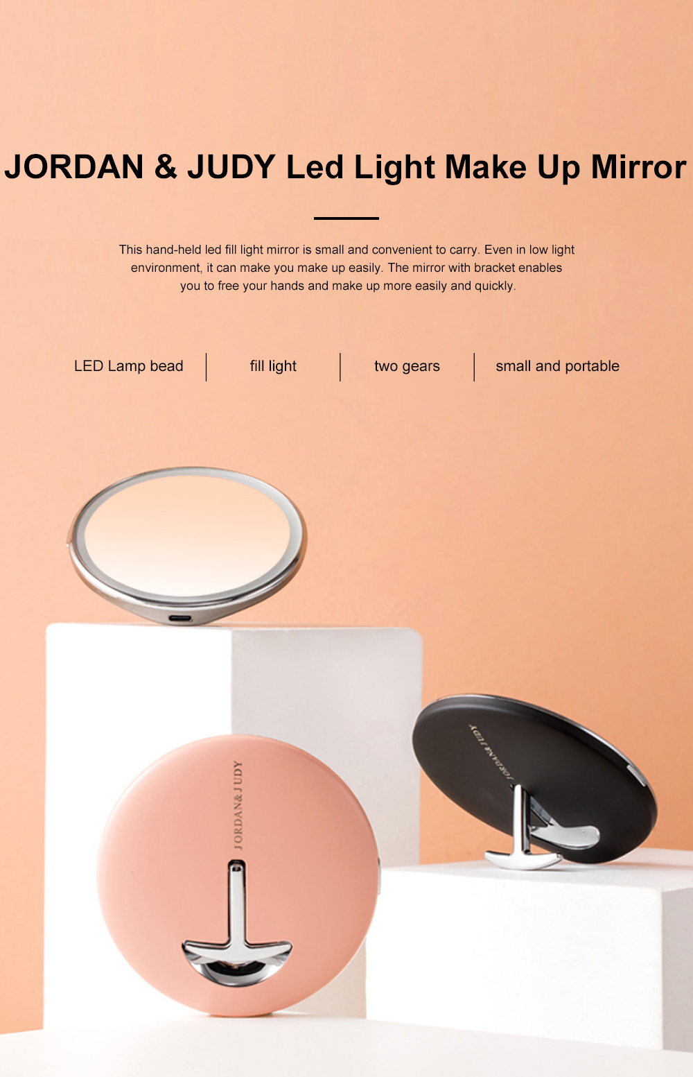 JORDAN&JUDY LED Light Make Up Mirror Led Fluorescent Lamp Girl's Lovely Portable Folding Mirror Personal Dressing Mirror 0