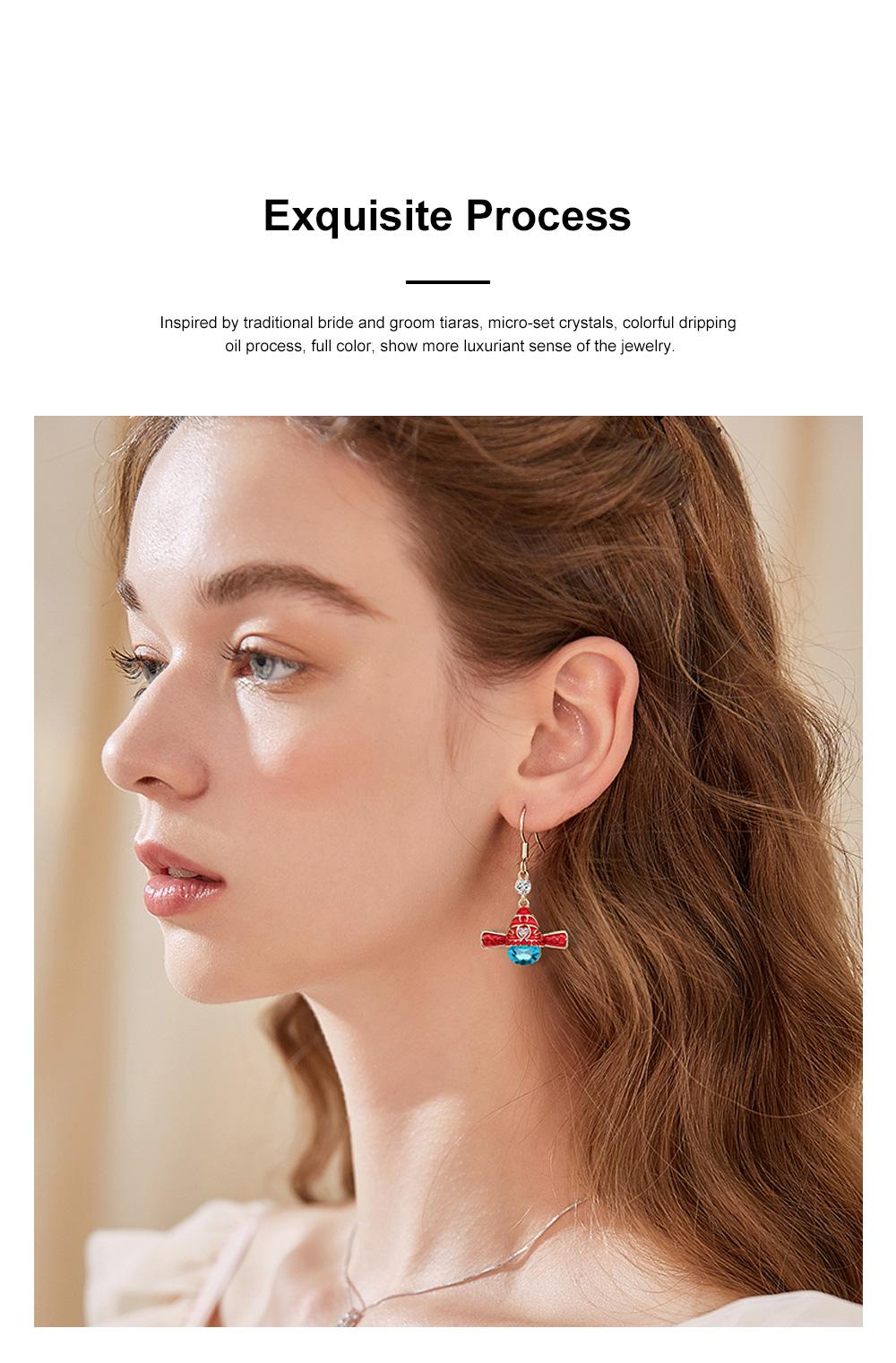 Chinese Style Dangle Earrings Asymmetric Personality Crystal Earrings Bride Groom Earrings Studs 3