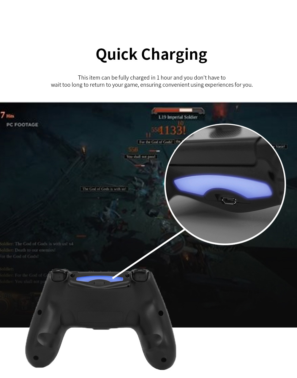 Easy Operation Long Endurance Multifunctional Ergonomics Designed Bluetooth Wireless PS4 Gamepad Games Console 4
