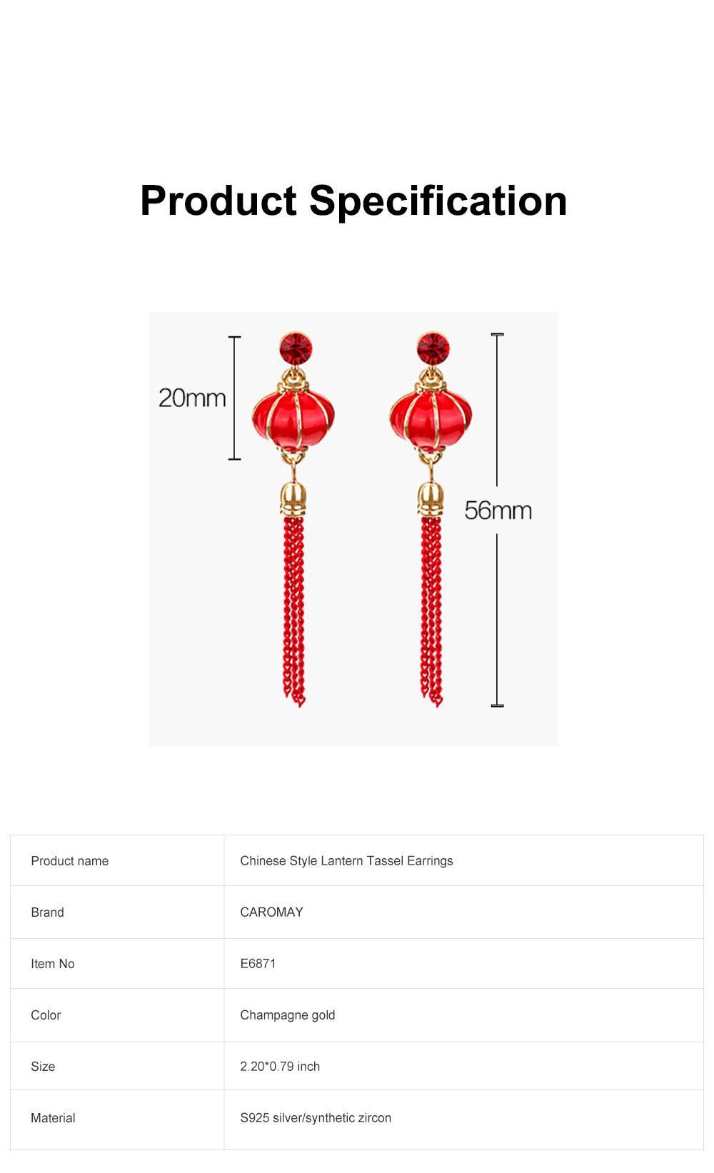 Chinese Lantern Dangle Earring Love Lucky Lantern Drop Earrings Dangle Vintage Ear Jewelry for Women Girls 6
