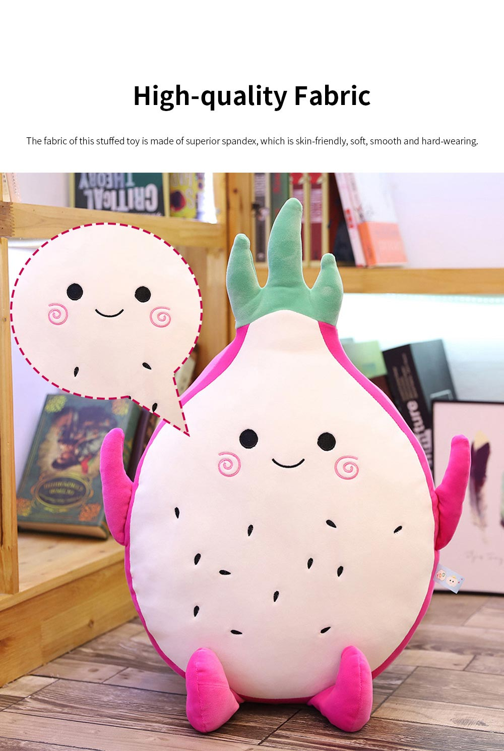 Cute Creative Imitation Cartoon Dragon Fruit Pitaya Stuffed Toy Plush Doll Bolster Cushion Children New Year Gift 1