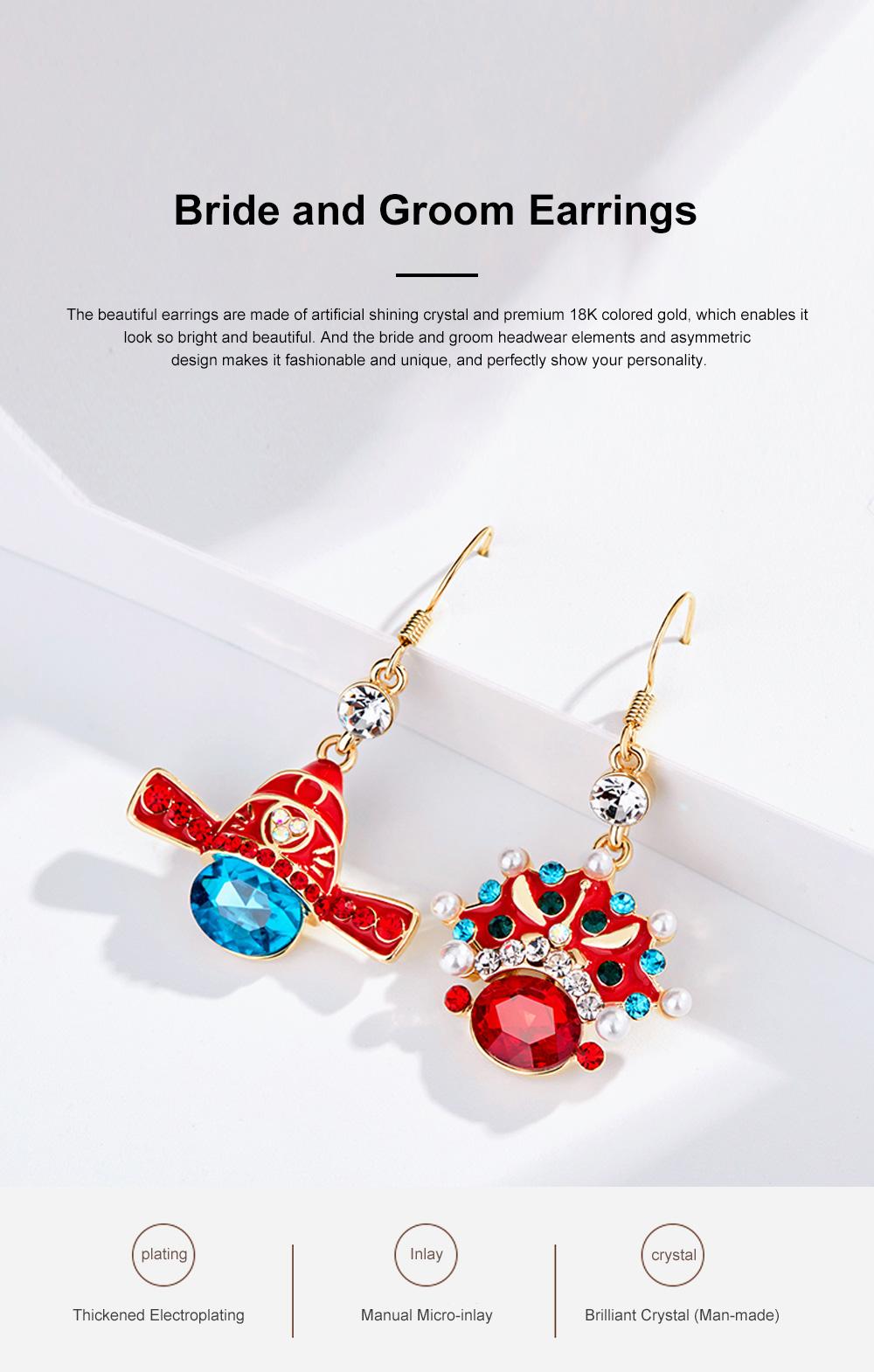 Chinese Style Dangle Earrings Asymmetric Personality Crystal Earrings Bride Groom Earrings Studs 0