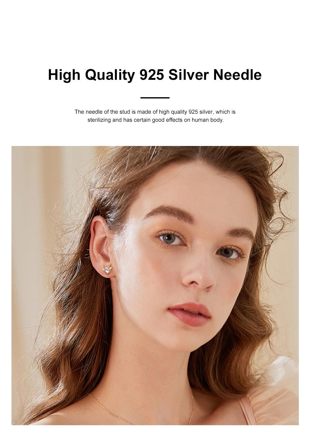 Cute Reindeer Earrings Studs for Women Asymmetrical Elk Stud Earrings Delicate 925 Silver Jewelry Earring Girls Gift 1