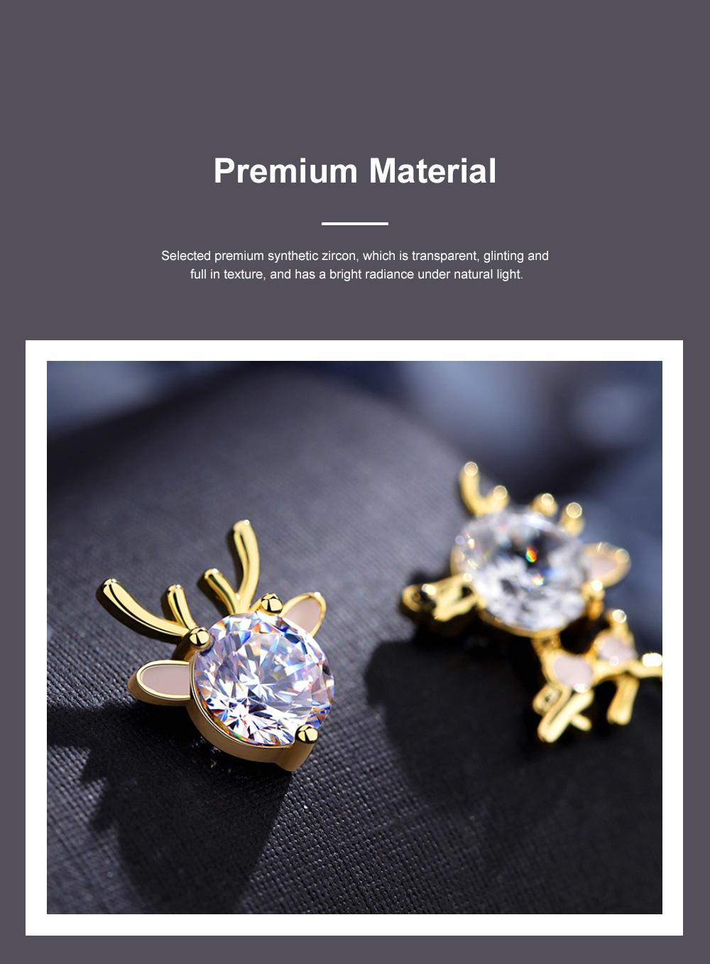 Cute Reindeer Earrings Studs for Women Asymmetrical Elk Stud Earrings Delicate 925 Silver Jewelry Earring Girls Gift 2
