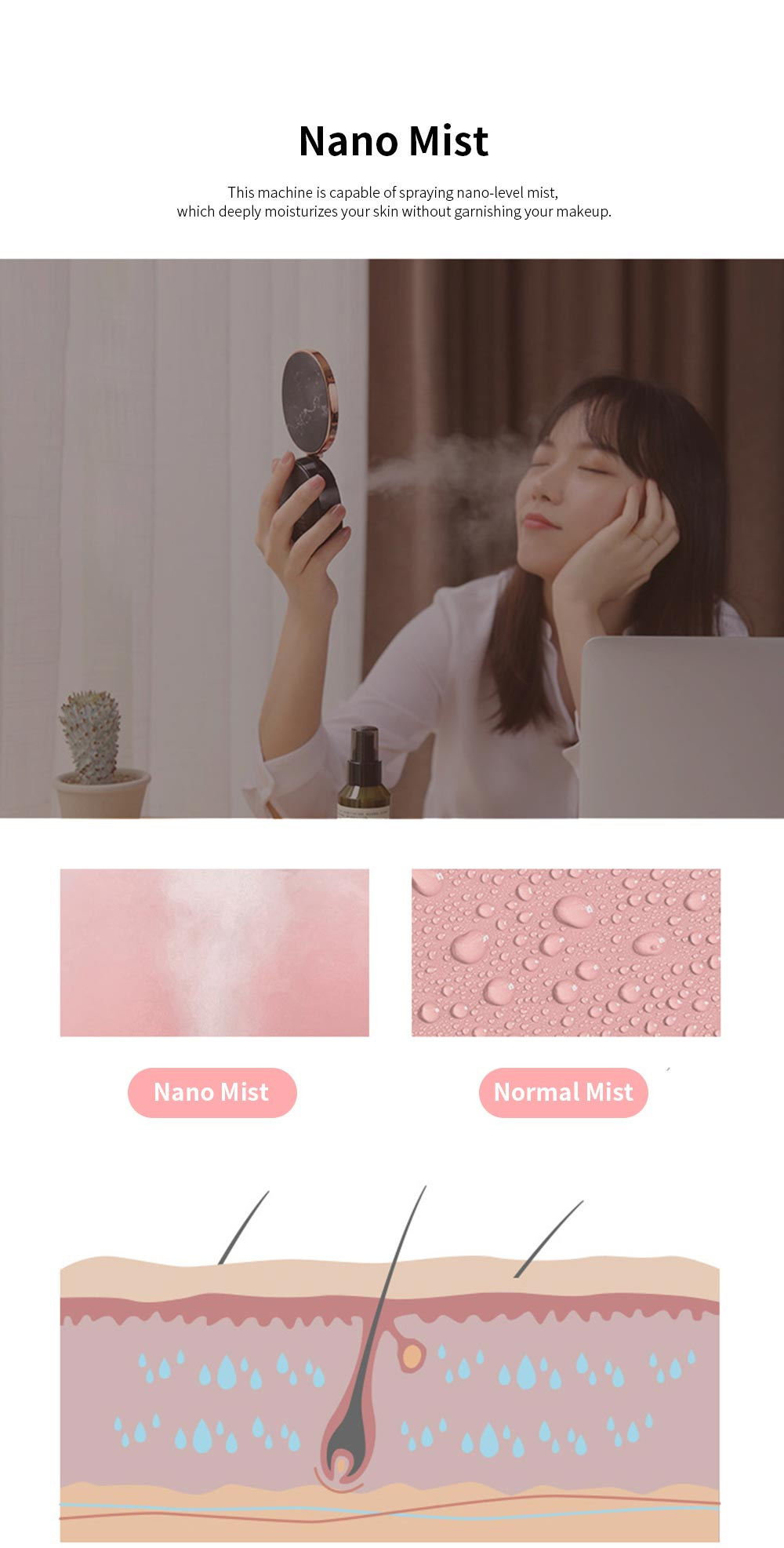 Portable Multifunctional Humidifier Nano Sprayer Water Supply Instrument Mirror Power Bank with Marble Pattern Decoration 1