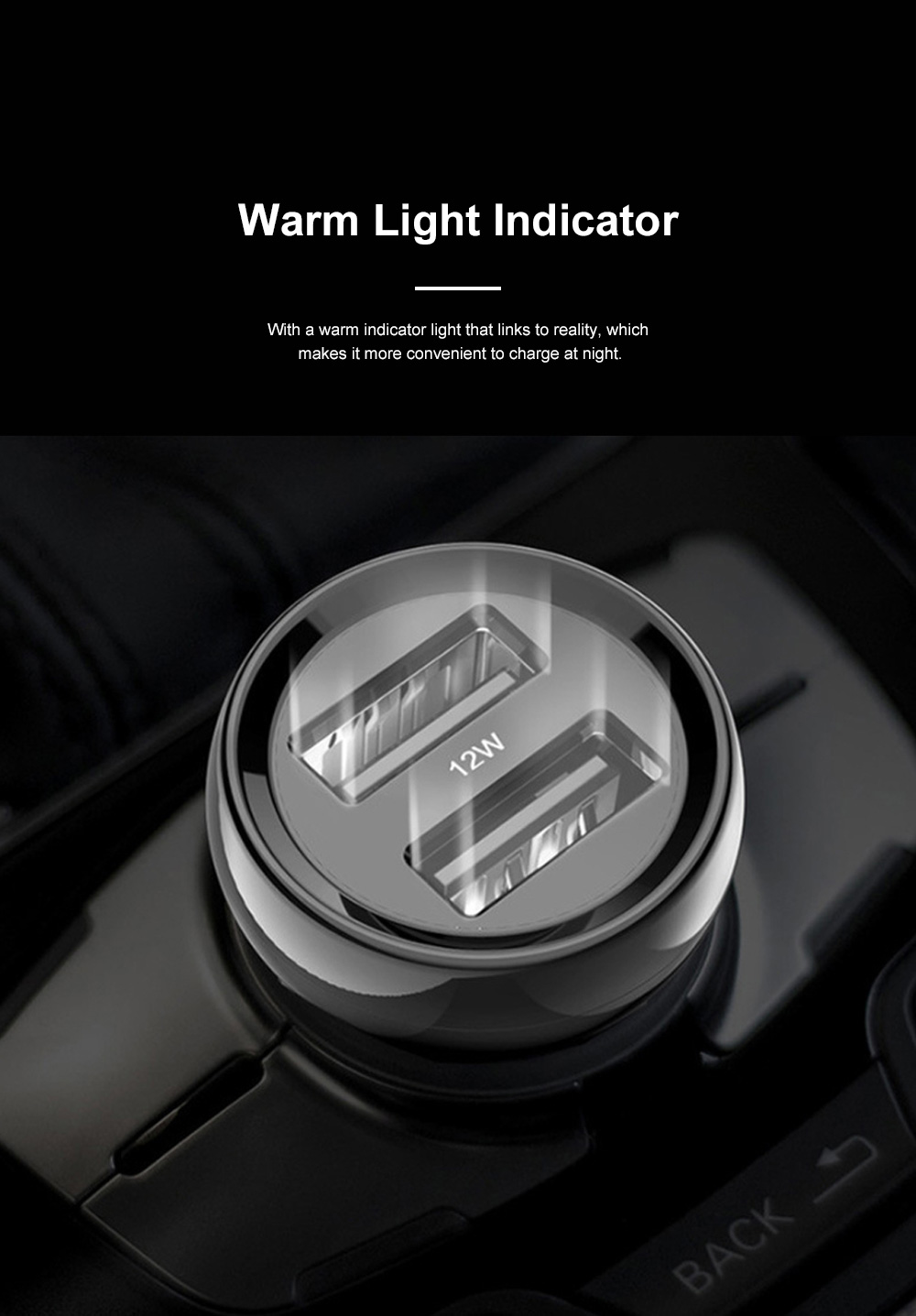 Pisen Dual USB Car Charger Mini Vehicle Power Charger with Warm Light Indicator and Bilateral Non-Slip Shrapnel 2