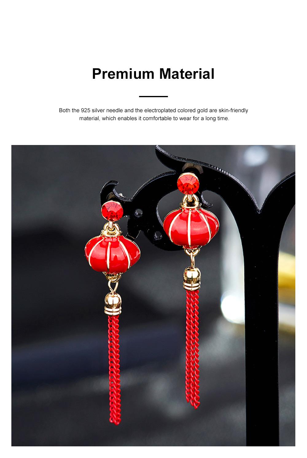Chinese Lantern Dangle Earring Love Lucky Lantern Drop Earrings Dangle Vintage Ear Jewelry for Women Girls 1