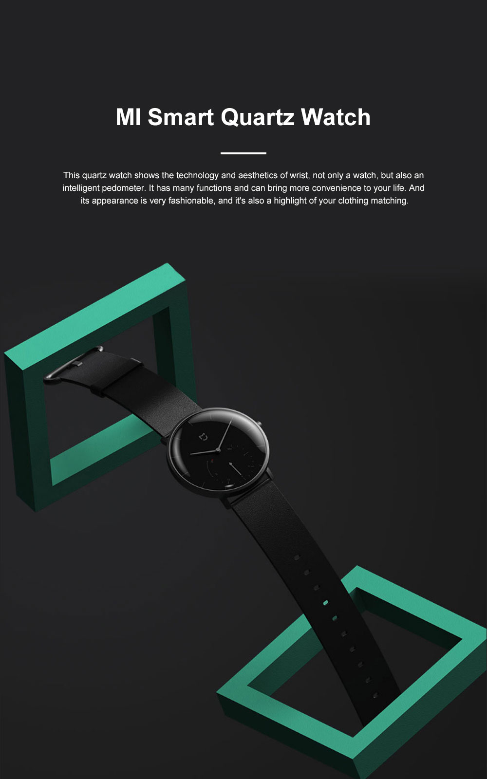 XIAOMI MIJIA Smart Quartz Watch Waterproof Android iOS Time Android Smartwatch with Waterproof Genuine Leather Band 0