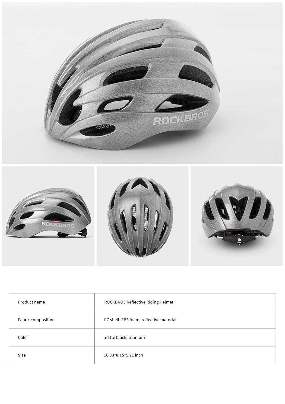 ROCKBROS Reflective Riding Helmet Warning Bicycle Helmet for Night Riding Integrated Helmet Men Riding Helmet for Mountain Road 17