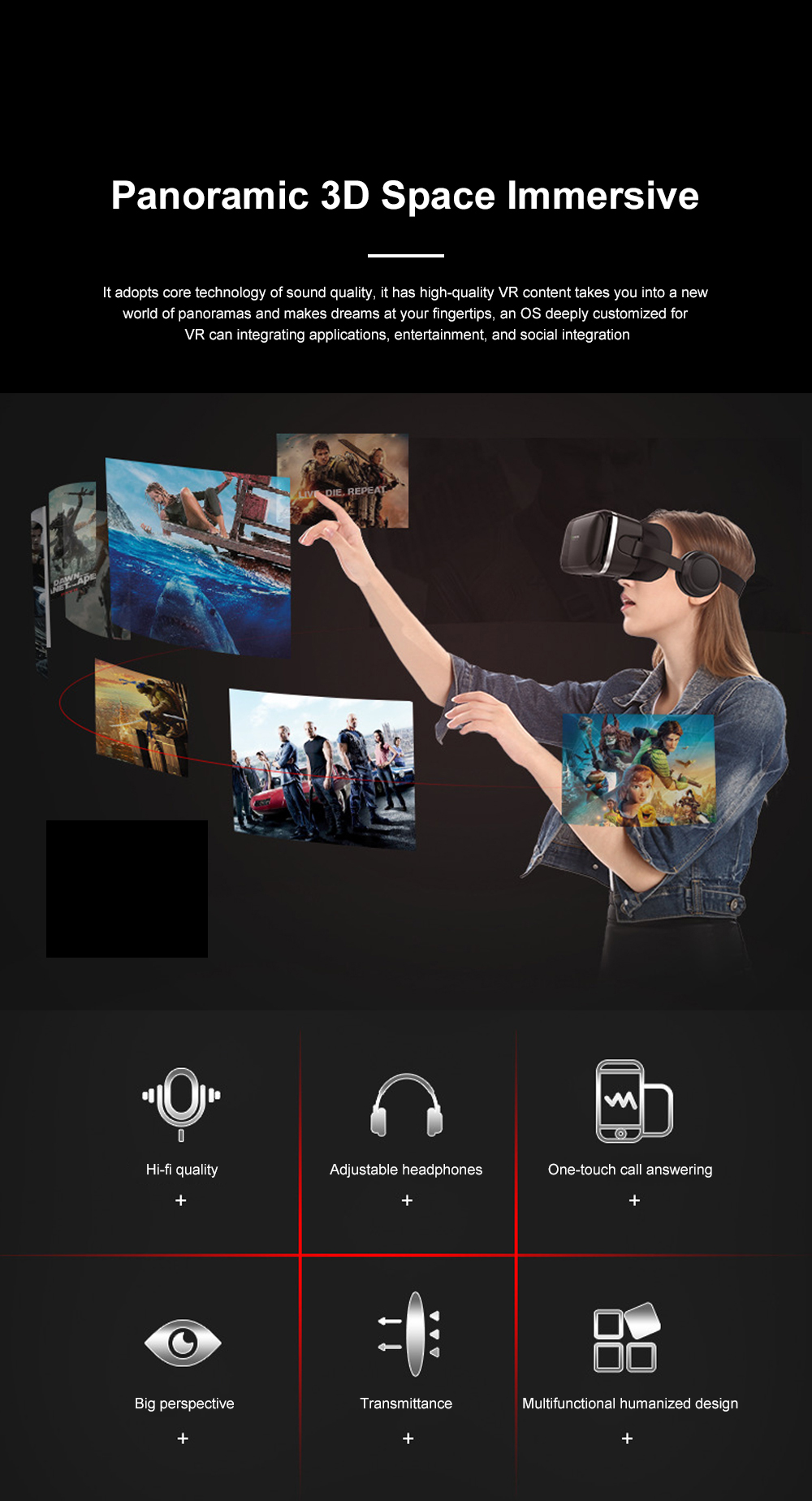 Original VR Shinecon SC-G04E New Arrive Virtual Reality Googles 3D Glasses For VR Games Movies Work With iPhone And Android 4