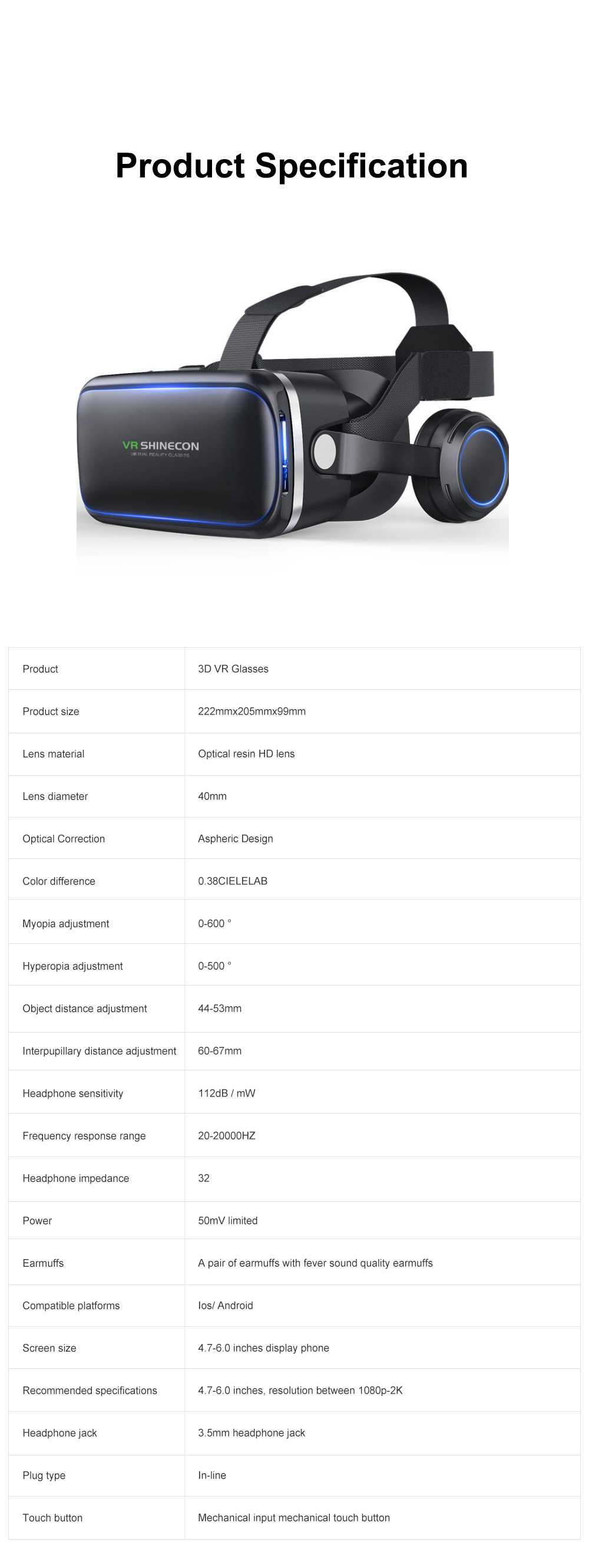 Original VR Shinecon SC-G04E New Arrive Virtual Reality Googles 3D Glasses For VR Games Movies Work With iPhone And Android 10