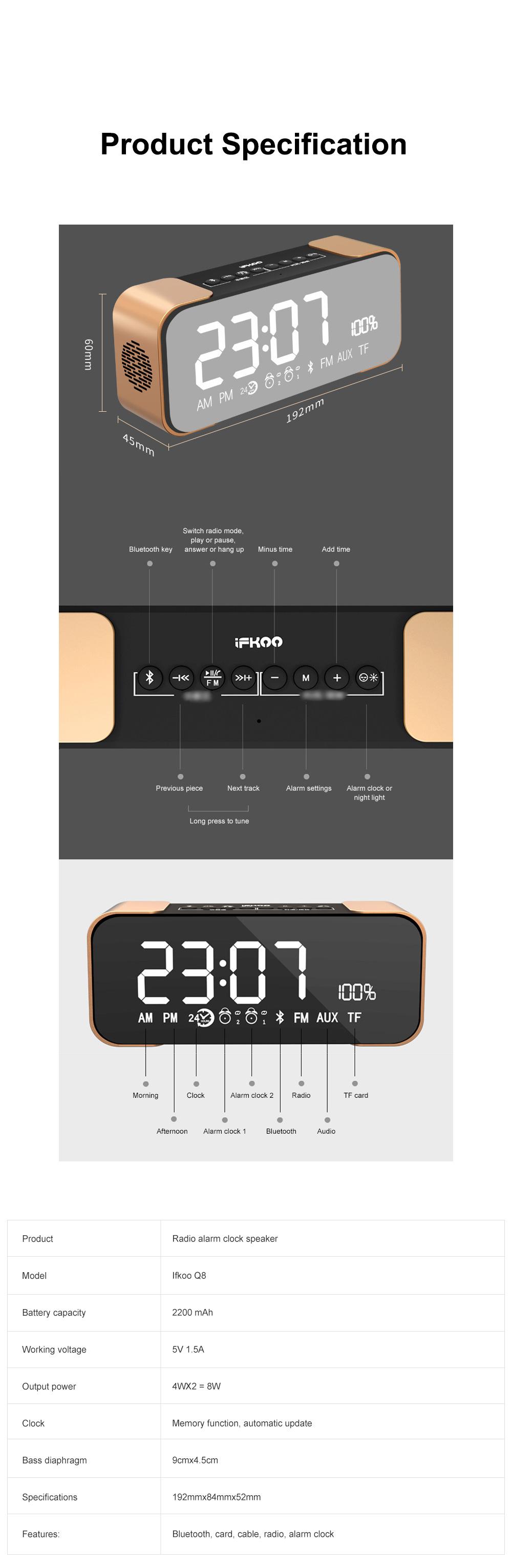 Portable Multimedia Wireless Charging LED Screen Bluetooth Speaker Smart Table Lamp Light Alarm Clock Led Touch Light Speaker 12
