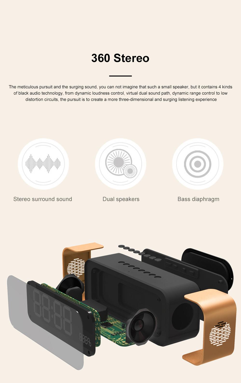Portable Multimedia Wireless Charging LED Screen Bluetooth Speaker Smart Table Lamp Light Alarm Clock Led Touch Light Speaker 5
