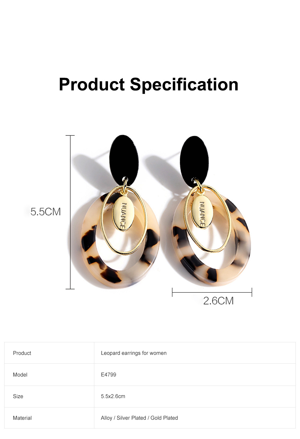 Chic Design Circle Leopard Hoop Drop Earrings Large Long Earrings For Women 6