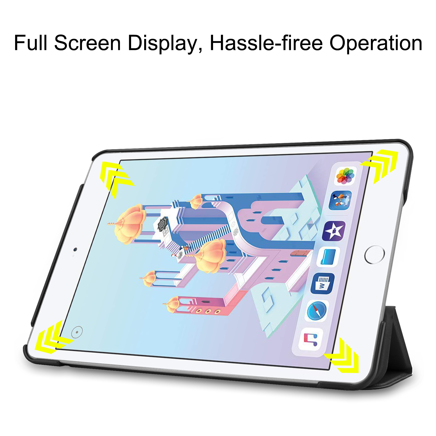 Compatible With iPad Mini 5 4 7.9'' Lightweight Stand Case Full Protection Leather Folding Folio Cover + Free iPad Pen Holder 2
