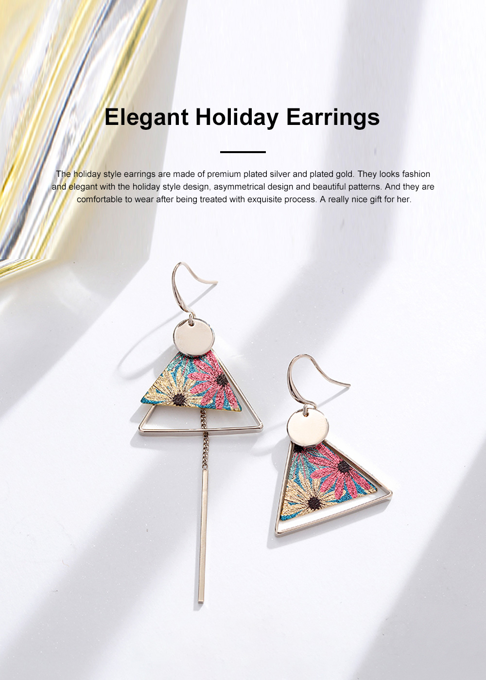 Elegant Holiday Earrings for Women Vocation Style Asymmetrical Earrings with Daisy Peacock Feather Pattern 0