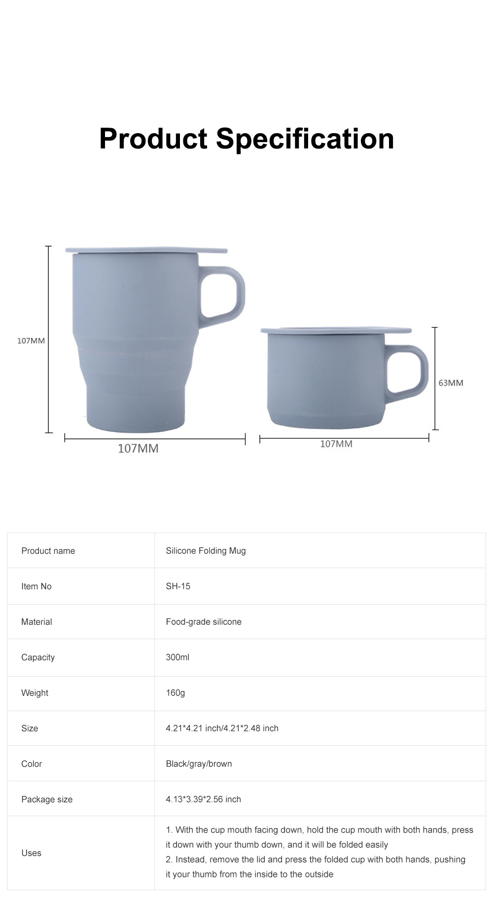 Silicone Folding Mug Cup Collapsible Silicone Coffee Cup with Free Straw Lid for Hiking Camping Travelling 6