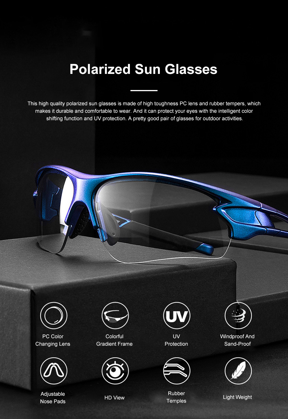 ROCKBROS Polarized Sun Glasses Intelligent Color Shifting UV Protection Glasses with High Toughness PC Lens for Outdoor Sport 0