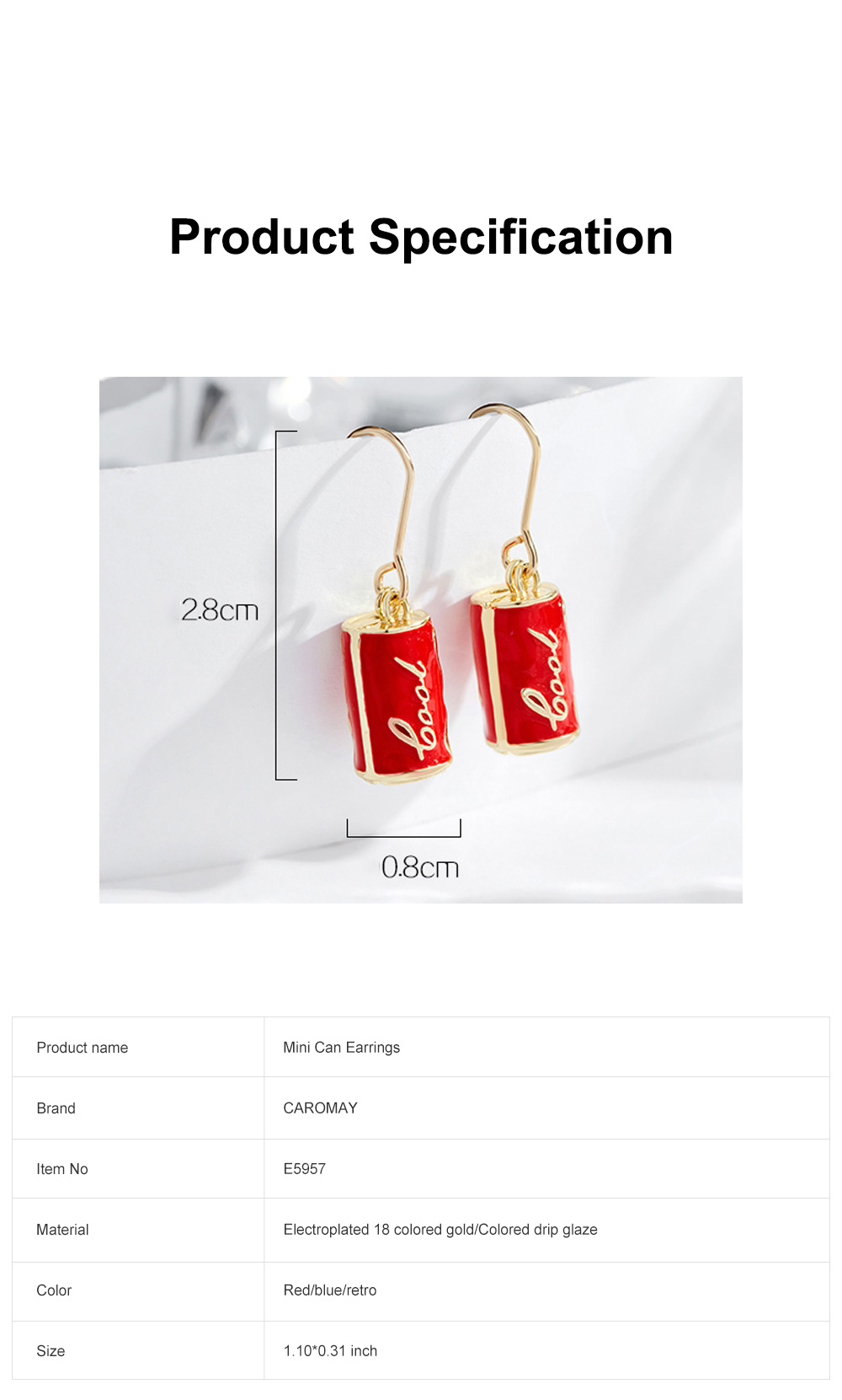 CAROMAY Cola Can Earrings 18K Colored Gold Can Ear Jewelry for Girls Creative Can Accessory for Party Daily Wearing Valentine's Day Present 6