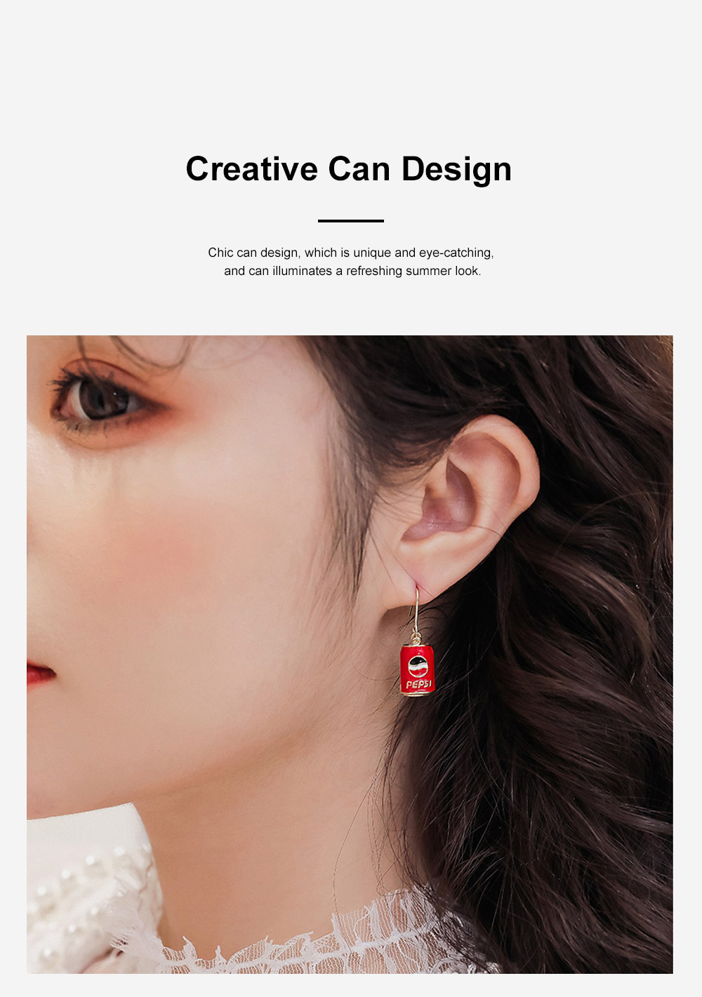 CAROMAY Cola Can Earrings 18K Colored Gold Can Ear Jewelry for Girls Creative Can Accessory for Party Daily Wearing Valentine's Day Present 5