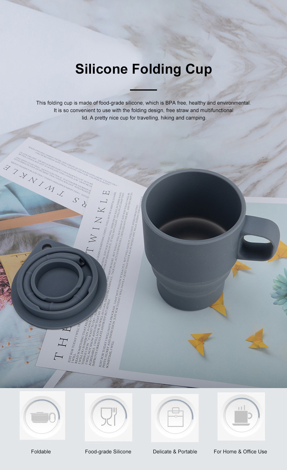 Silicone Folding Mug Cup Collapsible Silicone Coffee Cup with Free Straw Lid for Hiking Camping Travelling 0