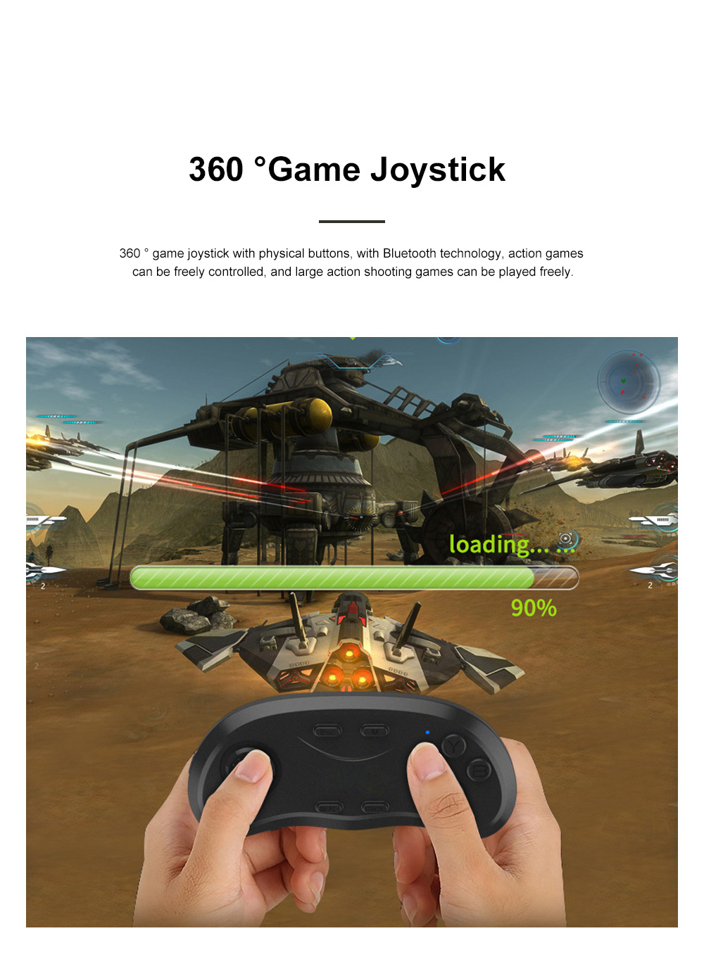 Wireless Bluetooth Game Controller with 360°Joystick Intelligent Remote Game Controller Handle Compatible with Android IOS PC 1