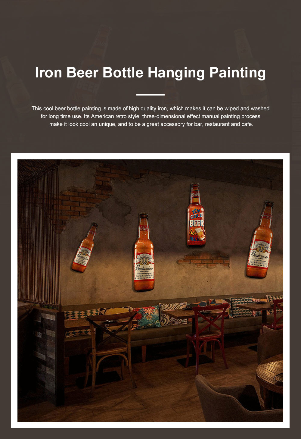 Iron Beer Bottle 3D Hanging Wall-mounted Painting Three-Dimensional Beer Bottle for Cafe Restaurant Decoration Home Art Painting 0