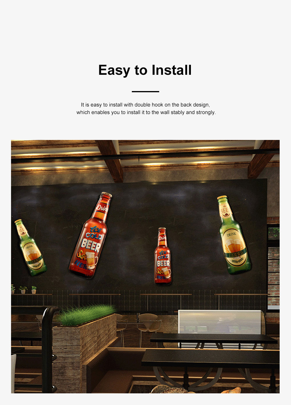Iron Beer Bottle 3D Hanging Wall-mounted Painting Three-Dimensional Beer Bottle for Cafe Restaurant Decoration Home Art Painting 5