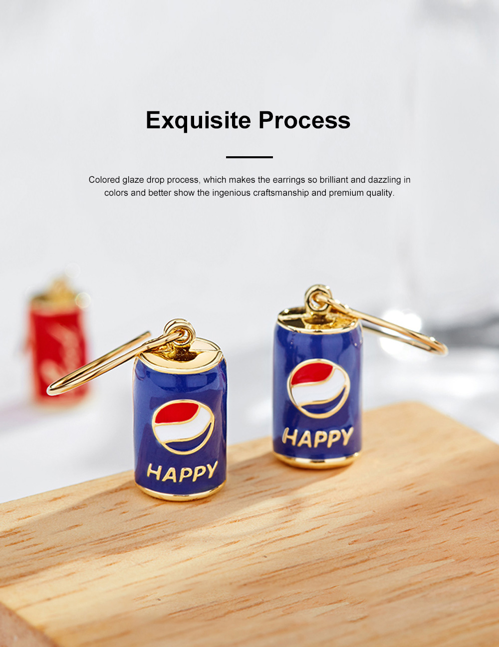 CAROMAY Cola Can Earrings 18K Colored Gold Can Ear Jewelry for Girls Creative Can Accessory for Party Daily Wearing Valentine's Day Present 4