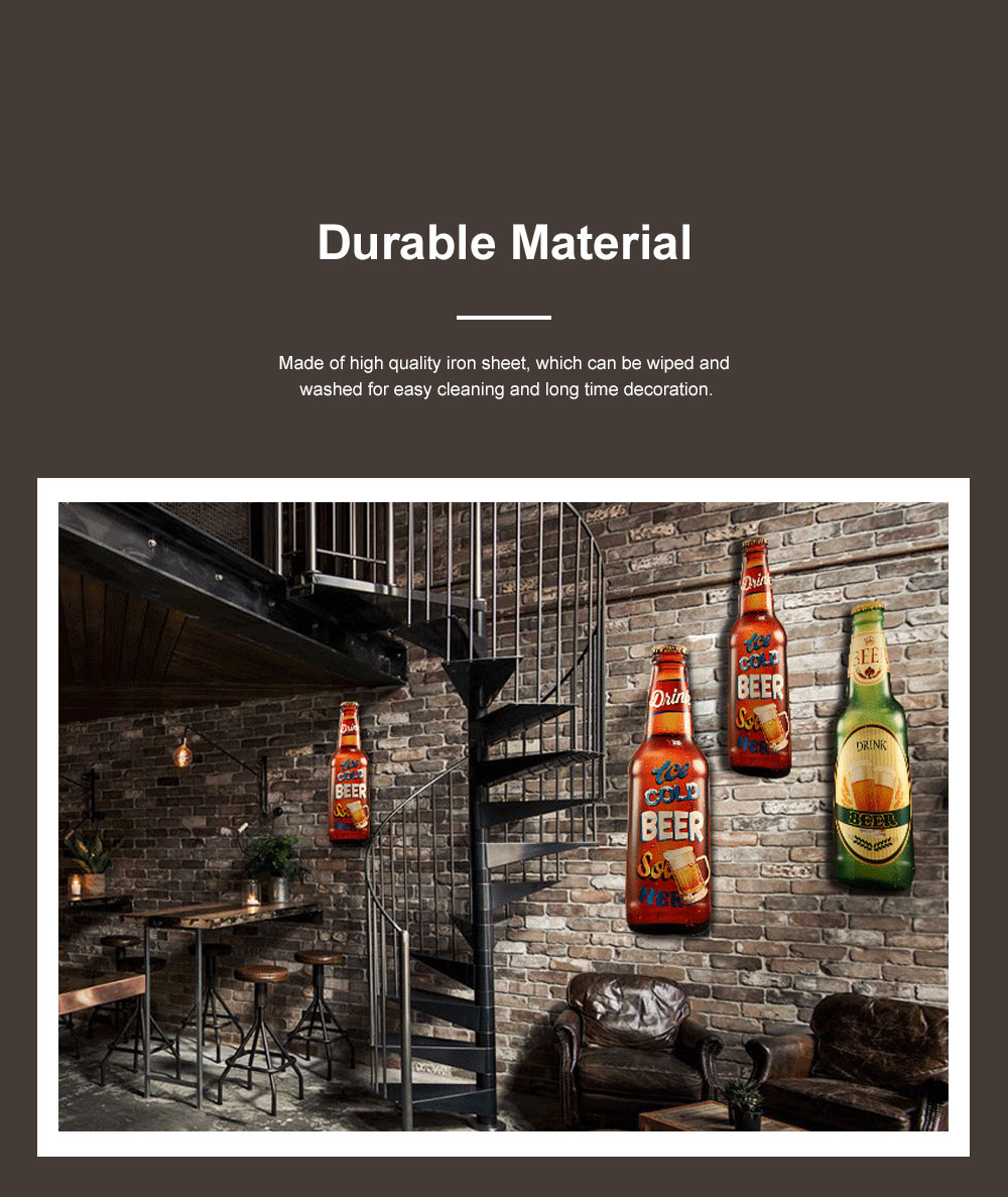 Iron Beer Bottle 3D Hanging Wall-mounted Painting Three-Dimensional Beer Bottle for Cafe Restaurant Decoration Home Art Painting 4