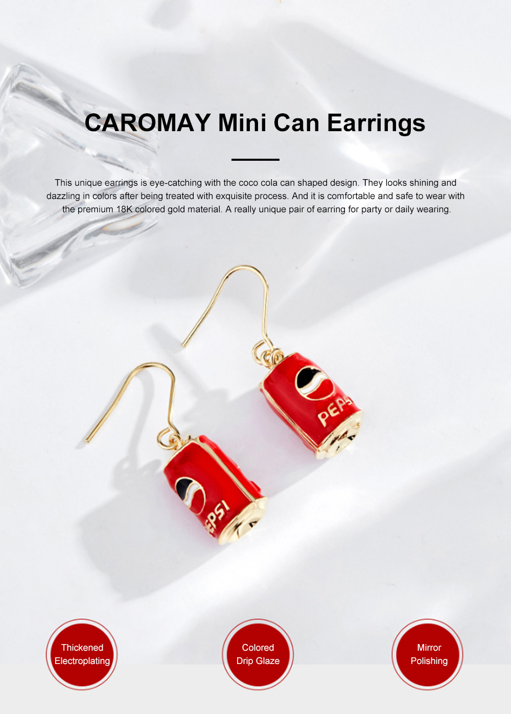 CAROMAY Cola Can Earrings 18K Colored Gold Can Ear Jewelry for Girls Creative Can Accessory for Party Daily Wearing Valentine's Day Present 0