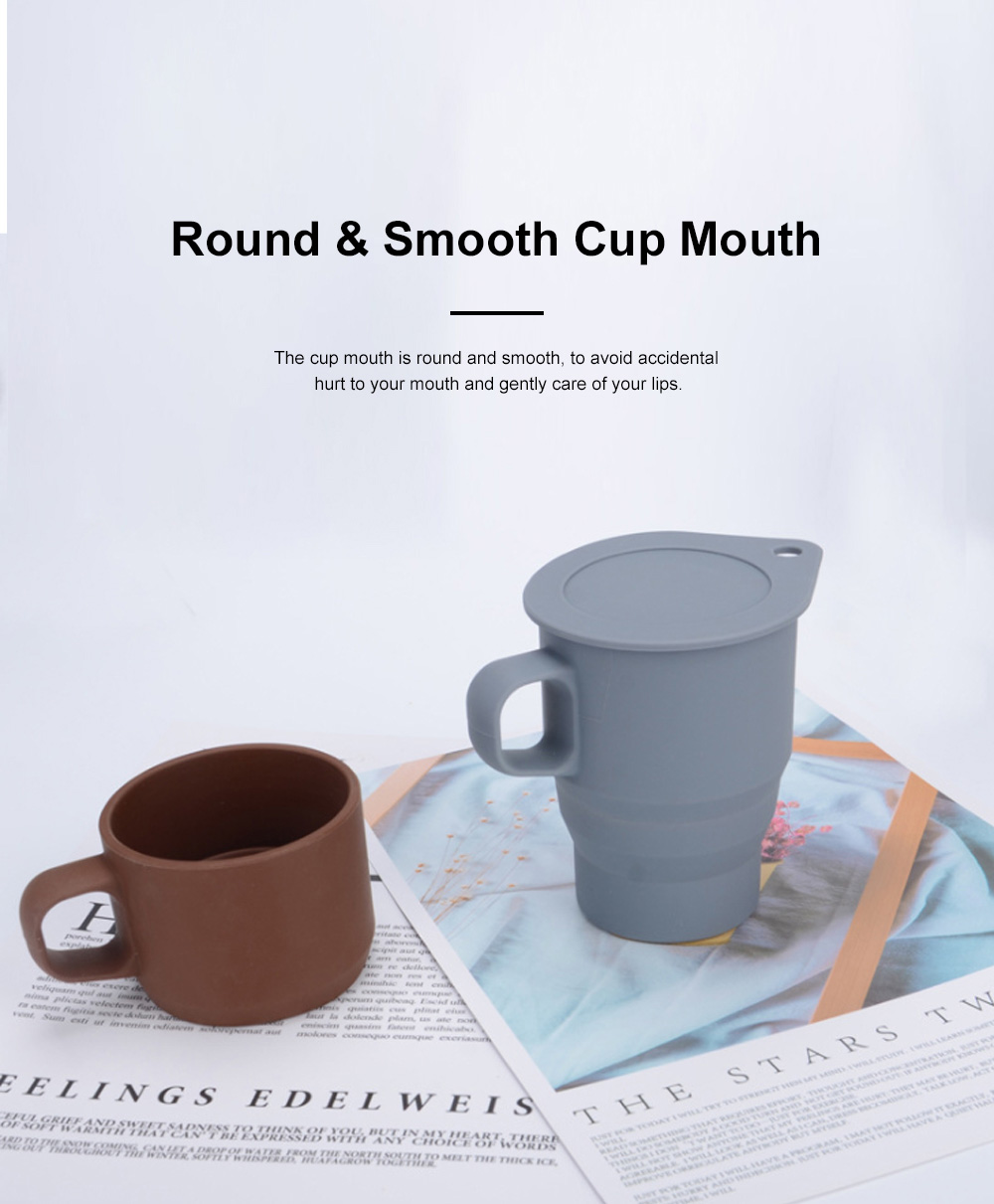Silicone Folding Mug Cup Collapsible Silicone Coffee Cup with Free Straw Lid for Hiking Camping Travelling 1