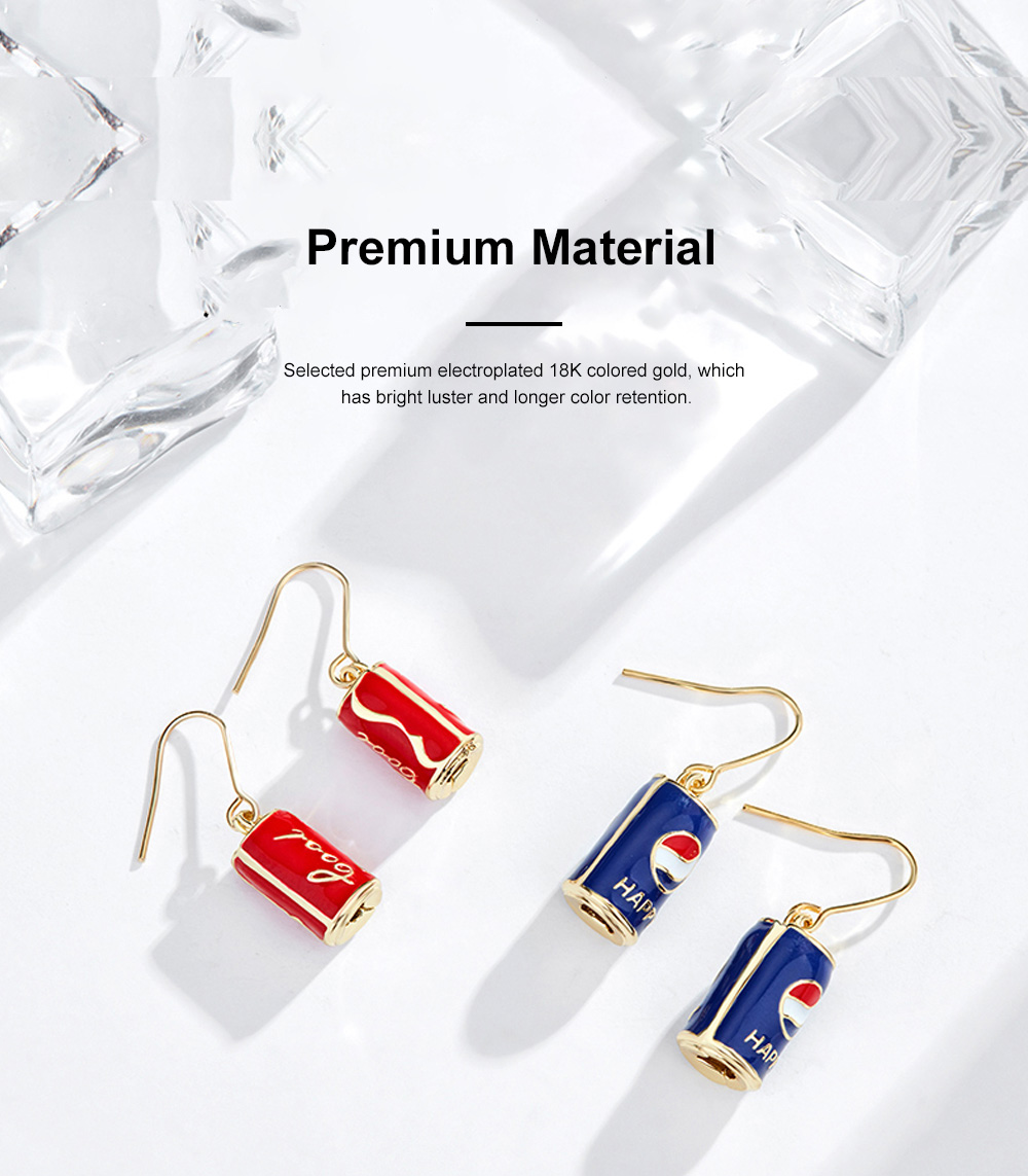 CAROMAY Cola Can Earrings 18K Colored Gold Can Ear Jewelry for Girls Creative Can Accessory for Party Daily Wearing Valentine's Day Present 2